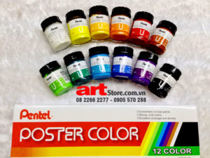 Màu Postercolor Pentel Hộp 12 màu 30ml