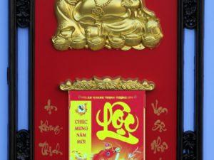 Lịch Phù Điêu Di Lạc Vàng Nền Đỏ