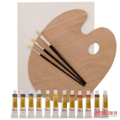 Bộ vẽ 12 màu sơn dầu+phông gỗ mỹ+căng(order)