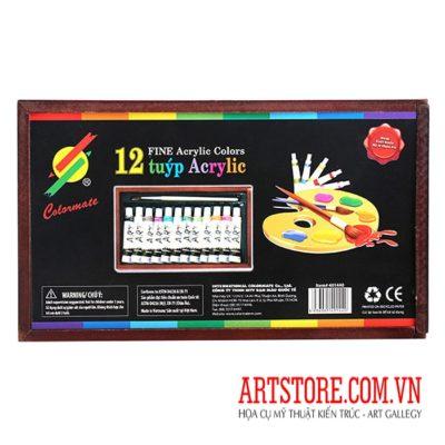 [TK]Màu Vẽ Acrylic 12 màu hộp gỗ